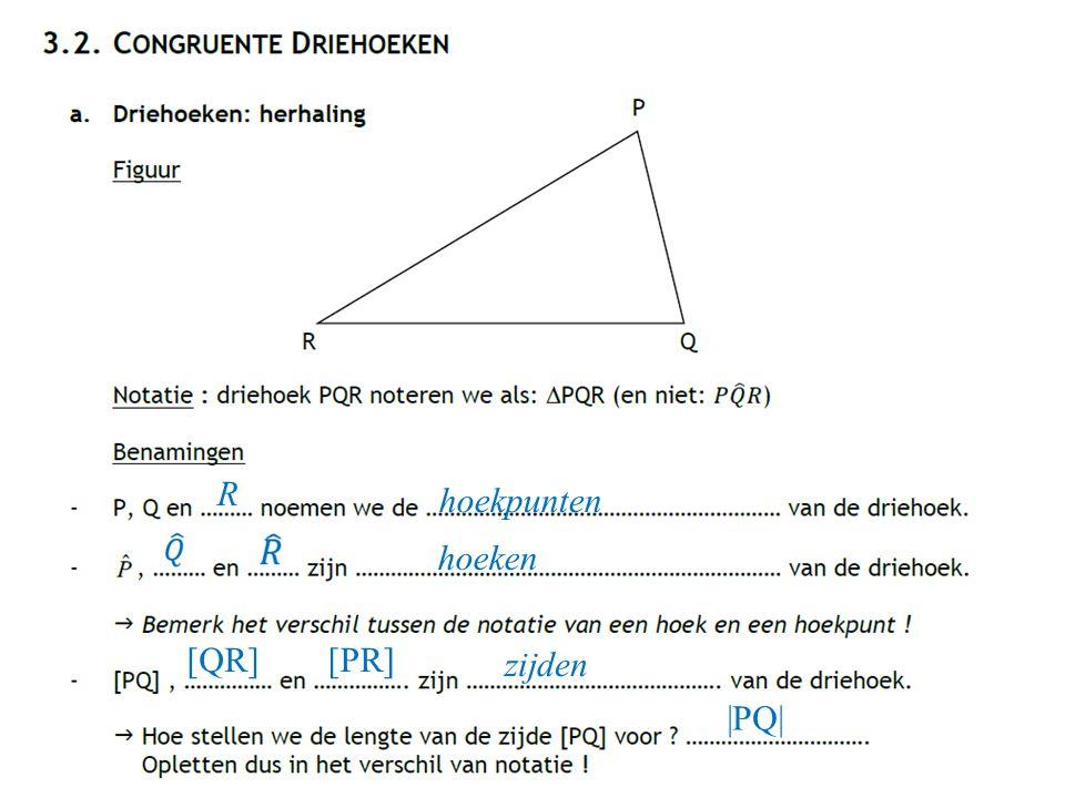 R hoekpunten hoeken [QR] [PR] zijden |PQ|